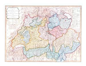 A new Map of the Switzerland, divided into the thirteen Cantons with their Allies & their subjects. by Laurie & Whittle